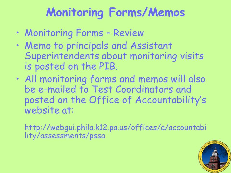 Monitoring Forms/Memos