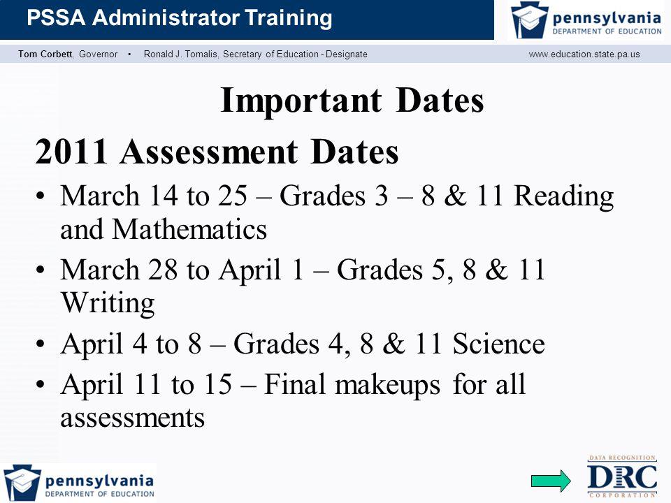 Important Dates 2011 Assessment Dates