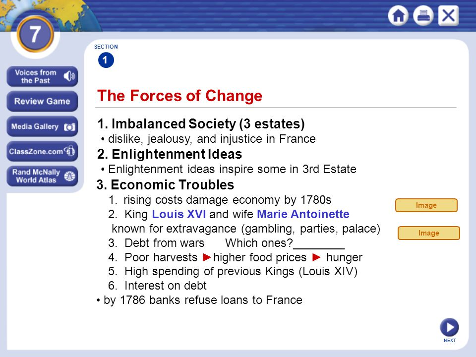 The Forces of Change 1. Imbalanced Society (3 estates)