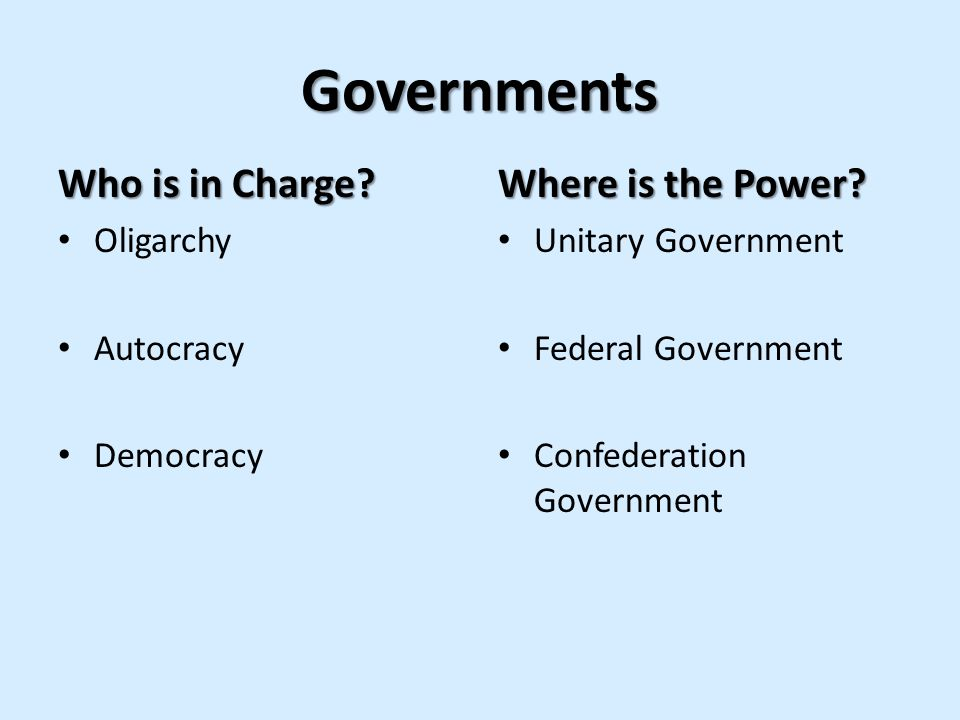 Governments Who is in Charge Where is the Power Oligarchy Autocracy