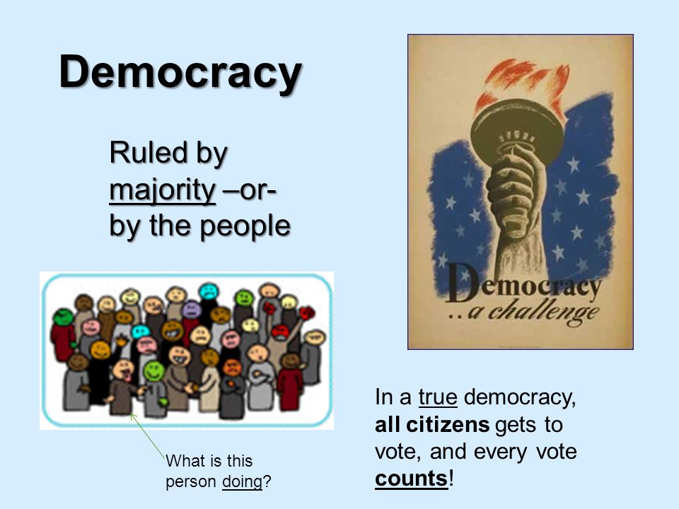 Democracy Ruled by majority –or- by the people