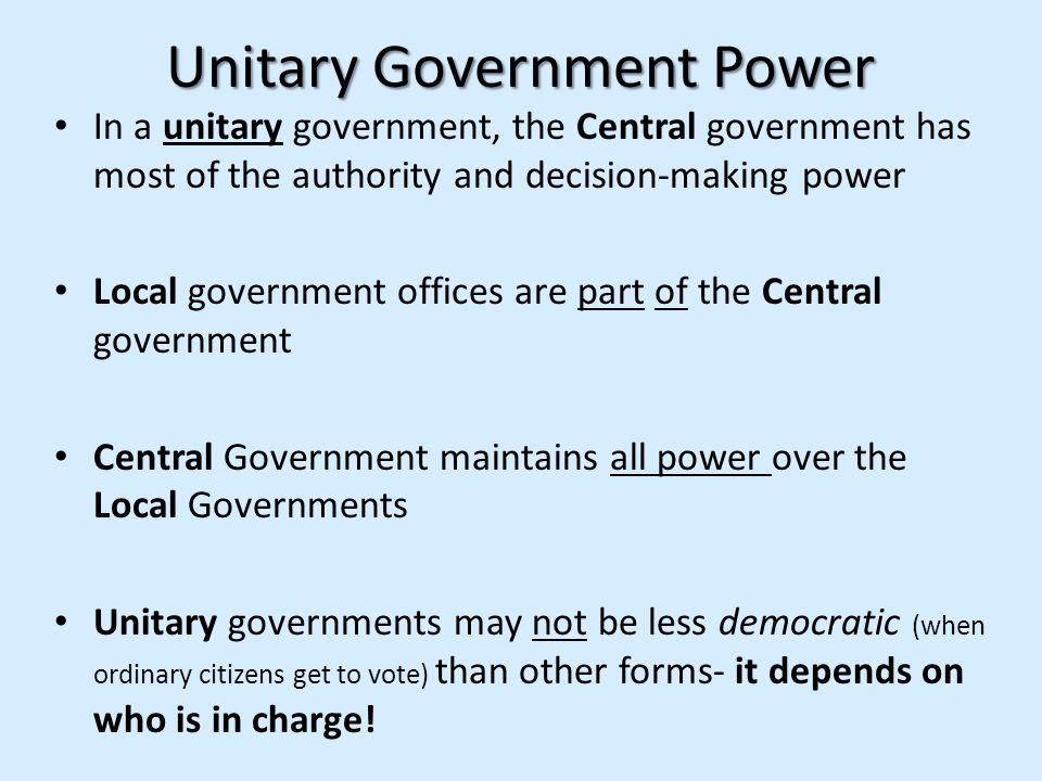 Unitary Government Power