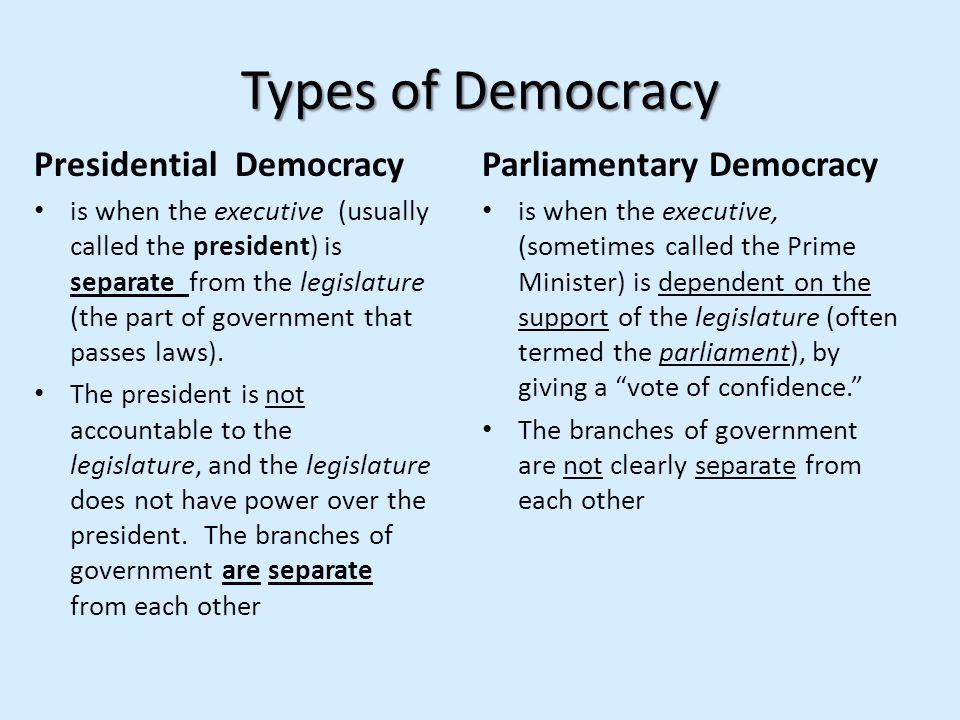 Types of Democracy Presidential Democracy Parliamentary Democracy