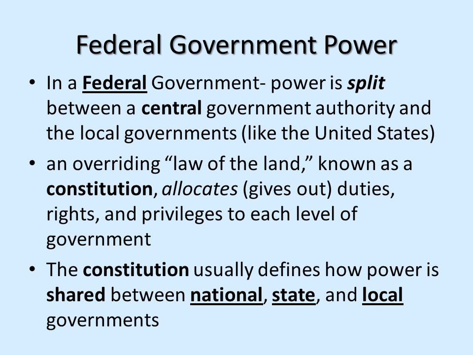 Federal Government Power