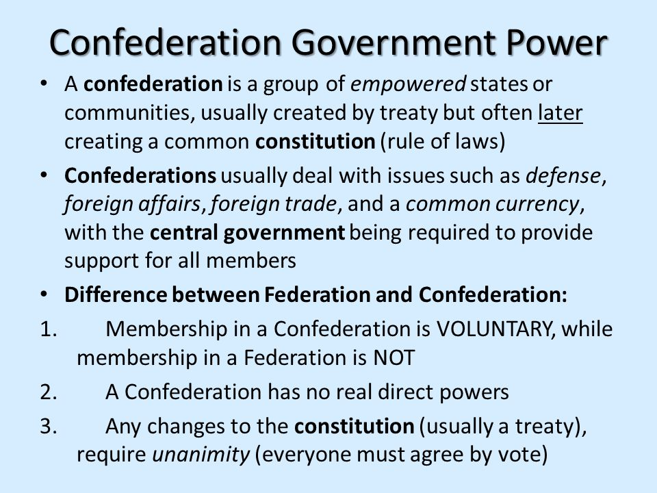 Confederation Government Power