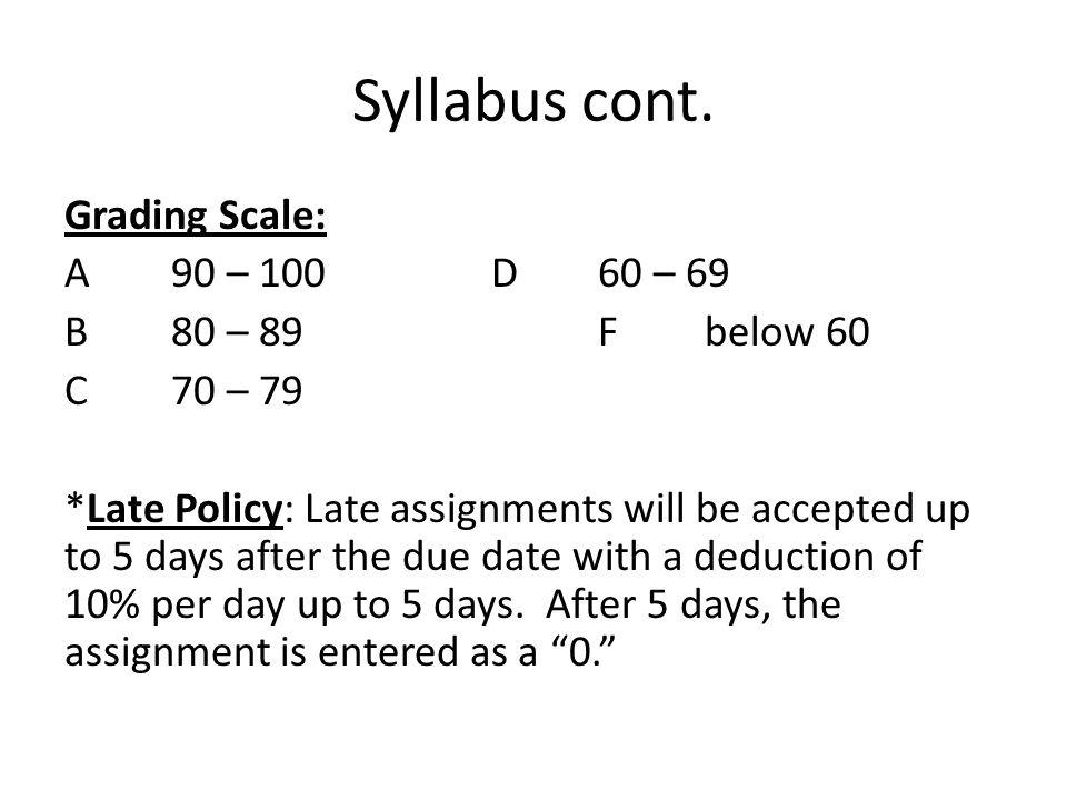 Syllabus cont. Grading Scale: A 90 – 100 D 60 – 69