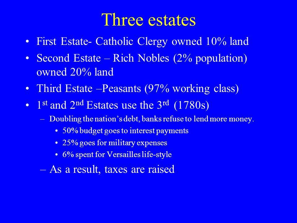 Three estates First Estate- Catholic Clergy owned 10% land