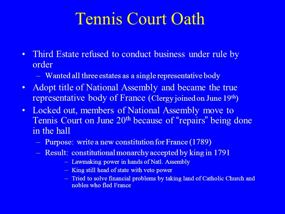 Tennis Court Oath Third Estate refused to conduct business under rule by order. Wanted all three estates as a single representative body.