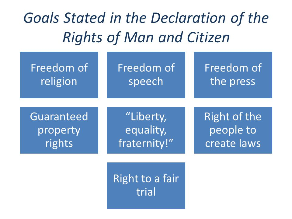 Goals Stated in the Declaration of the Rights of Man and Citizen