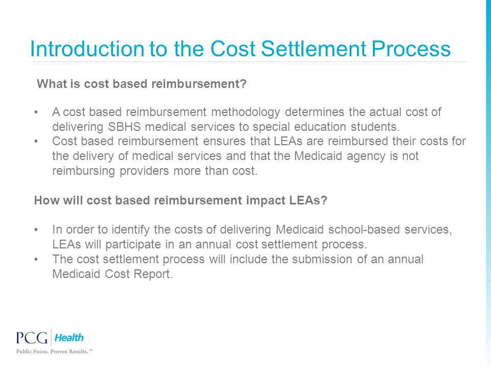 Introduction to the Cost Settlement Process