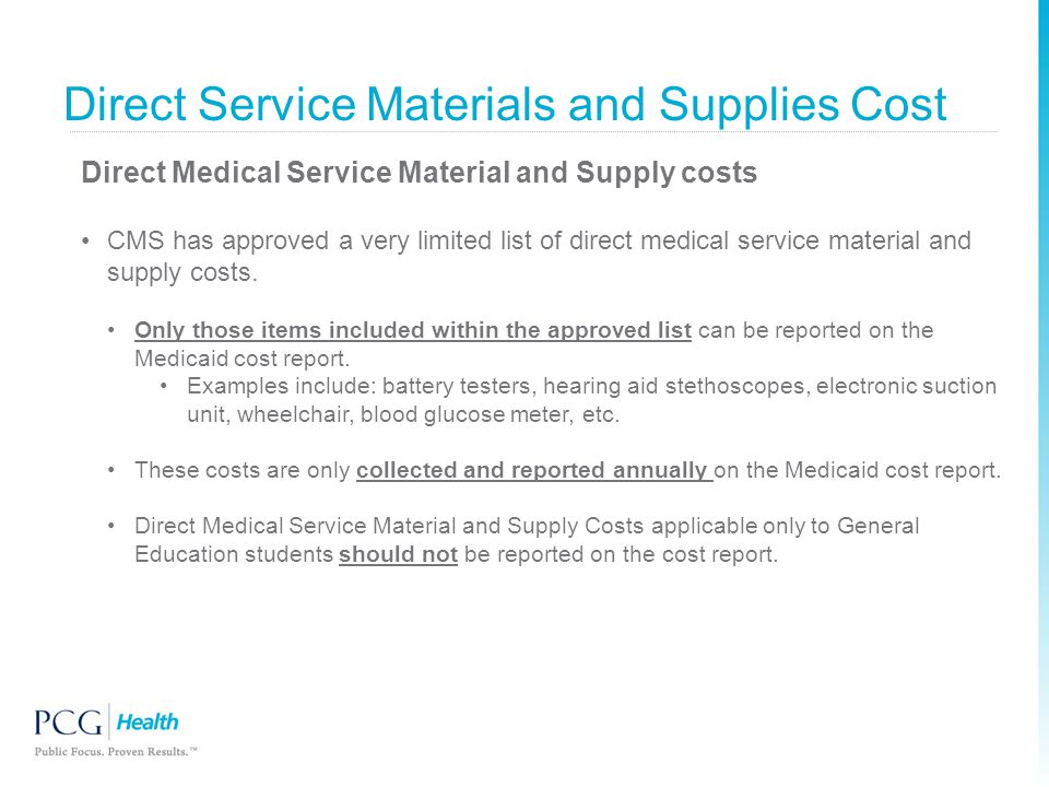Direct Service Materials and Supplies Cost
