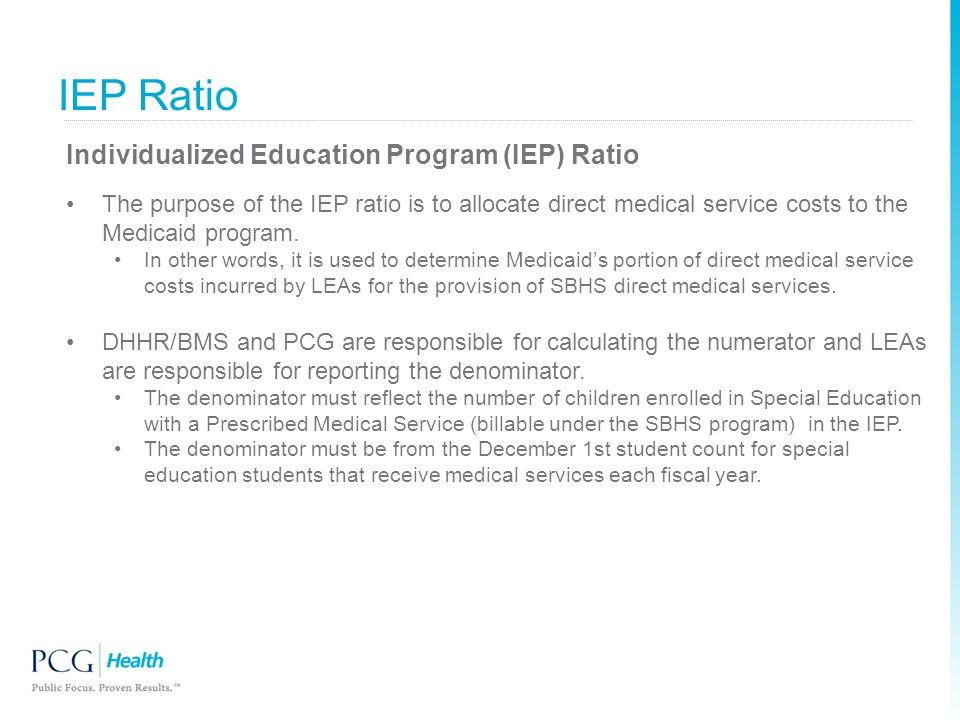 IEP Ratio Individualized Education Program (IEP) Ratio