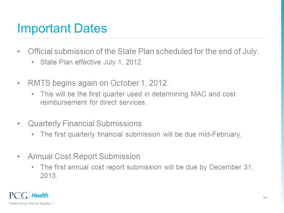 Important Dates Official submission of the State Plan scheduled for the end of July. State Plan effective July 1, 2012.