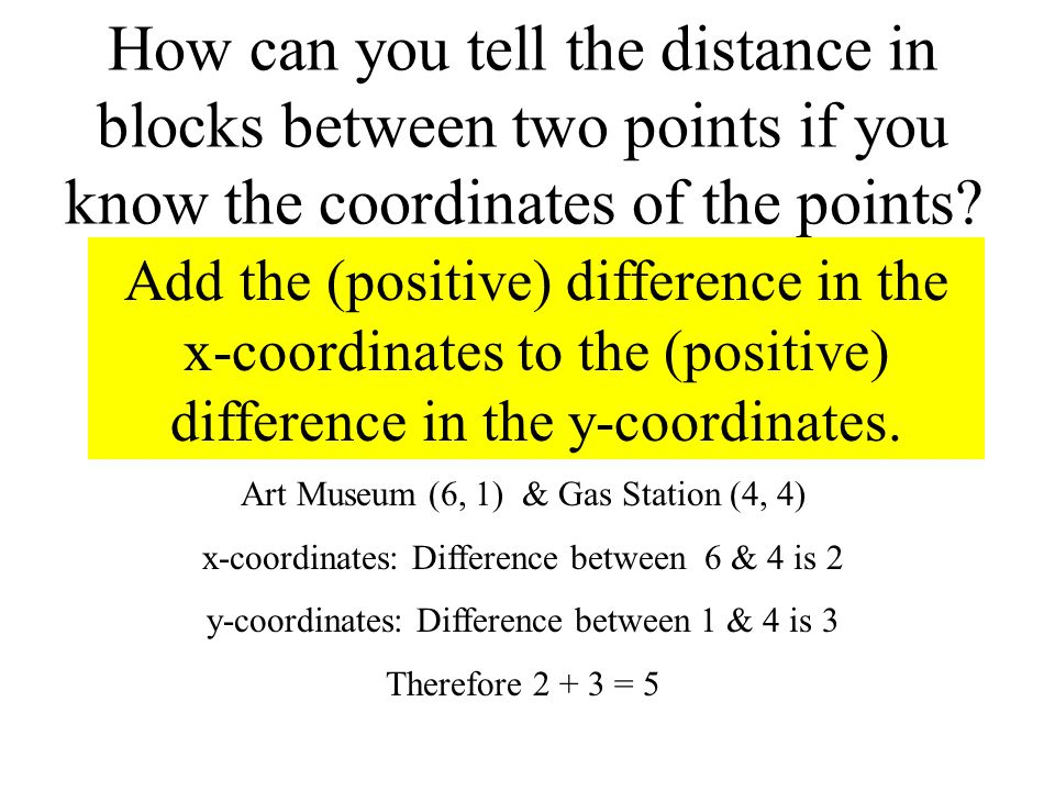 How can you tell the distance in blocks between two points if you know the coordinates of the points