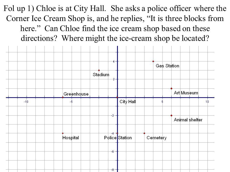 Fol up 1) Chloe is at City Hall