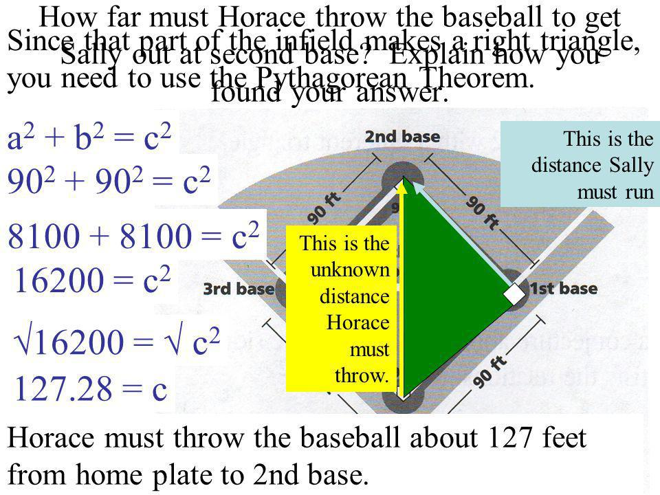 How far must Horace throw the baseball to get Sally out at second base
