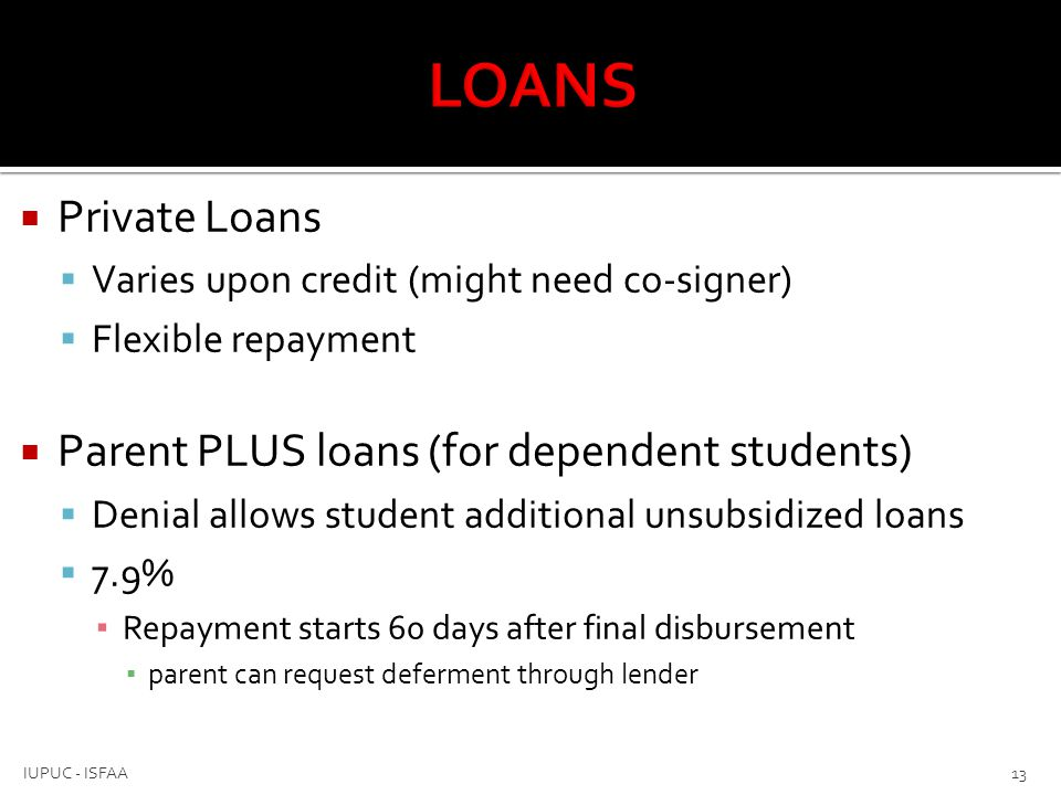 LOANS Private Loans Parent PLUS loans (for dependent students)