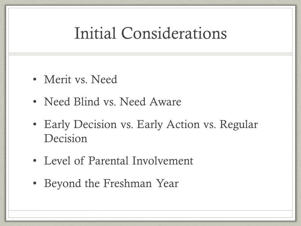 Initial Considerations