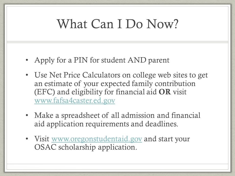 What Can I Do Now Apply for a PIN for student AND parent