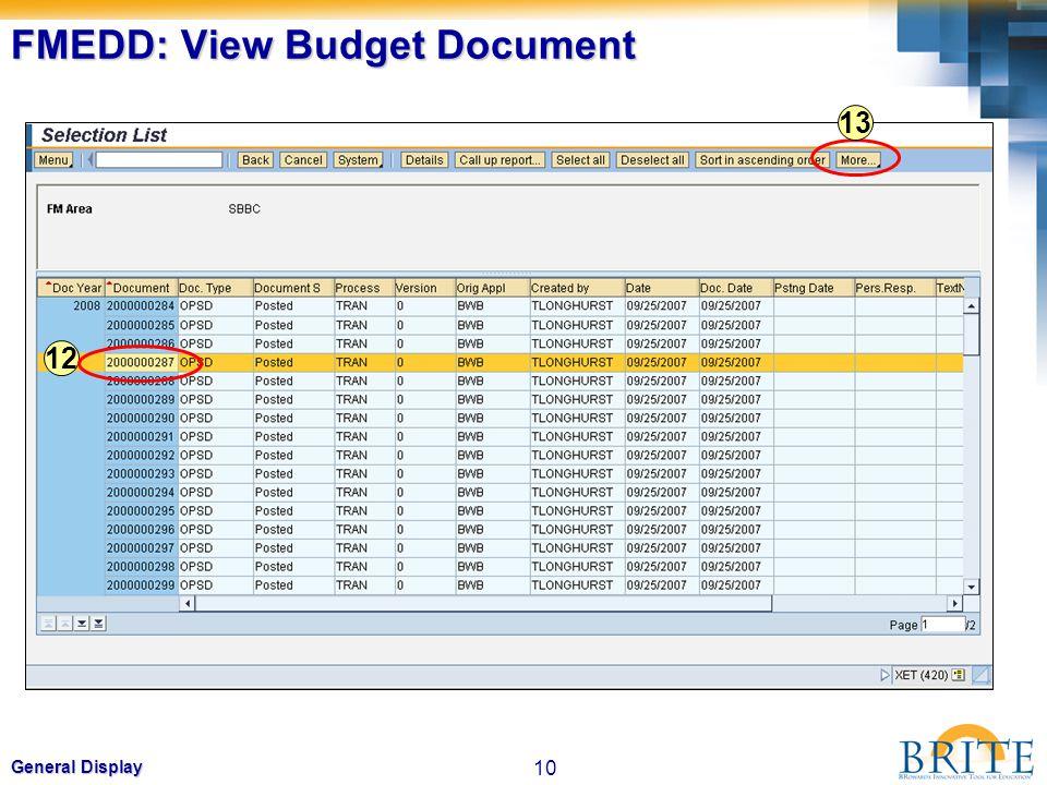 FMEDD: View Budget Document