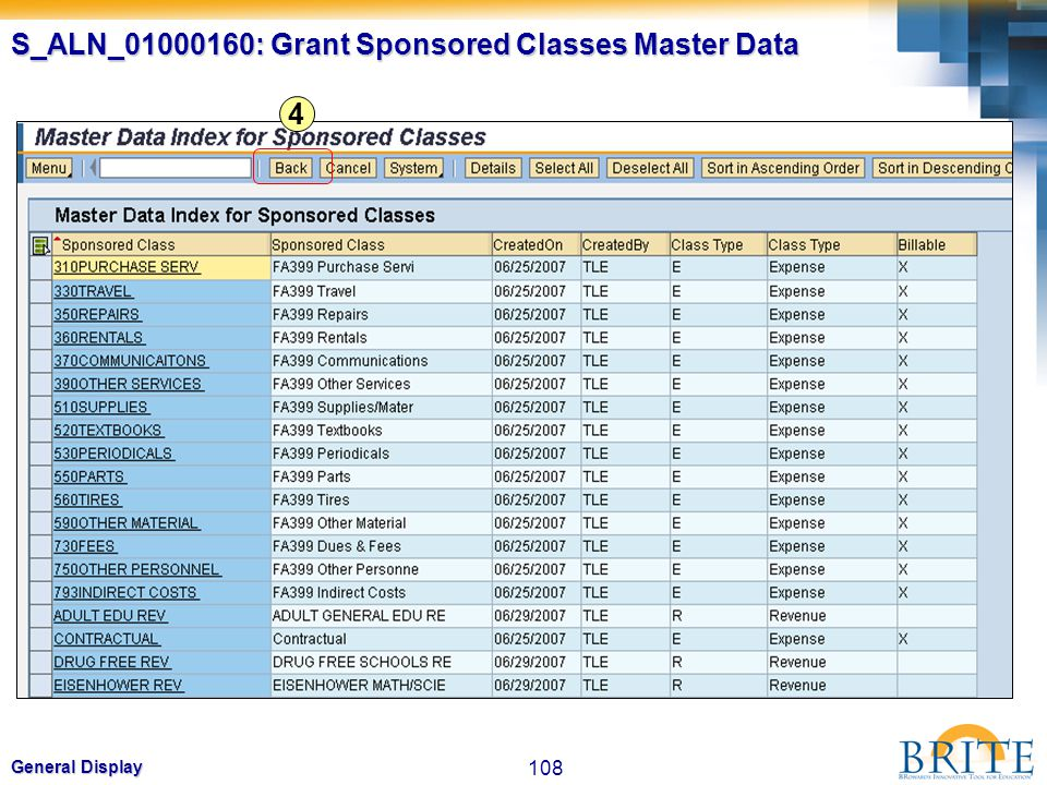 S_ALN_01000160: Grant Sponsored Classes Master Data