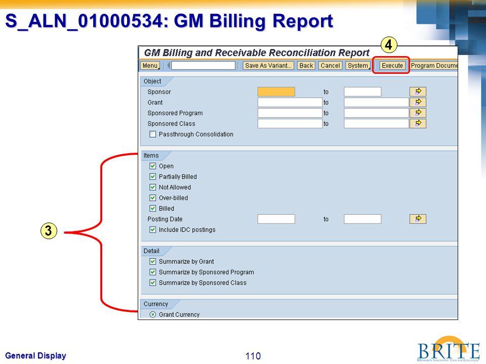 S_ALN_01000534: GM Billing Report