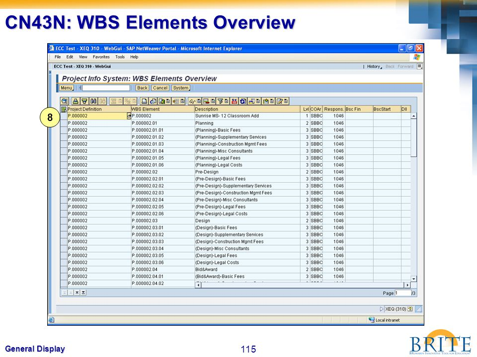 CN43N: WBS Elements Overview