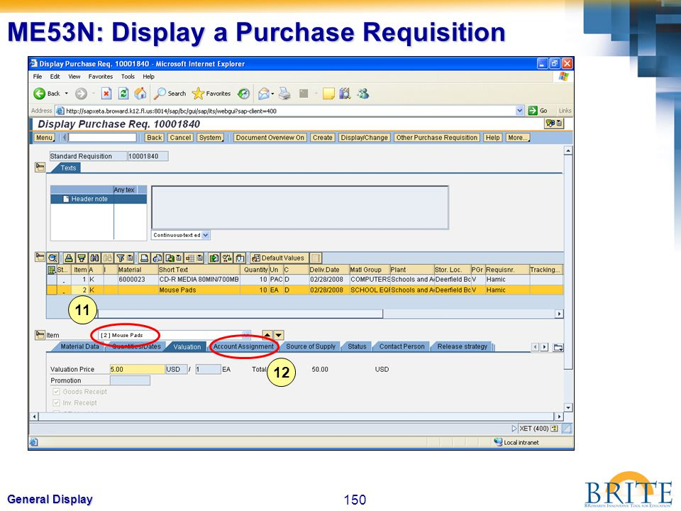 ME53N: Display a Purchase Requisition