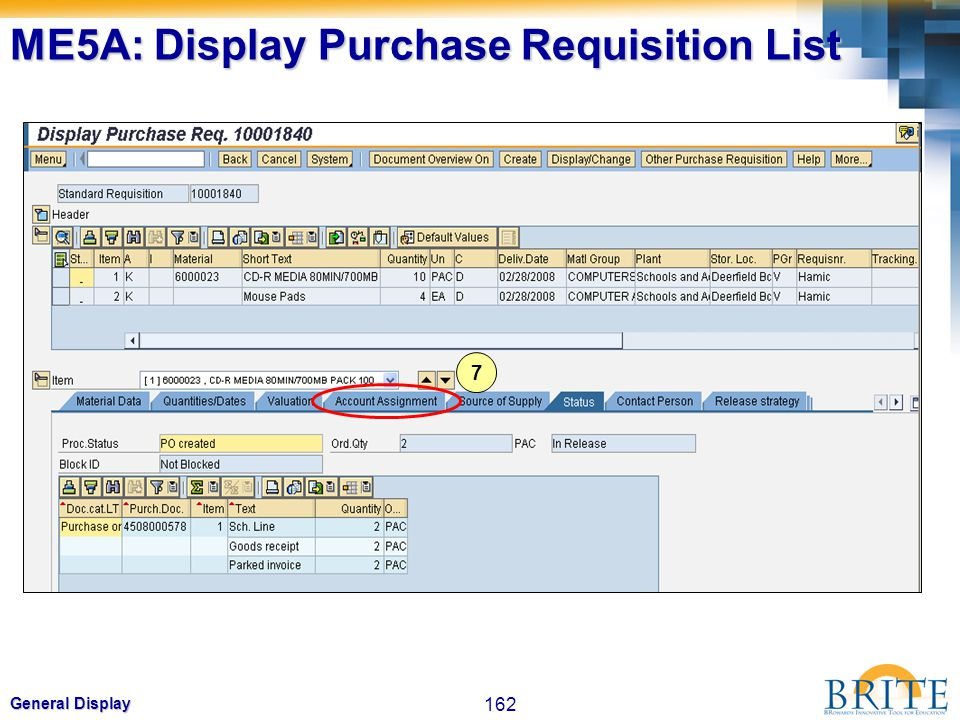 ME5A: Display Purchase Requisition List
