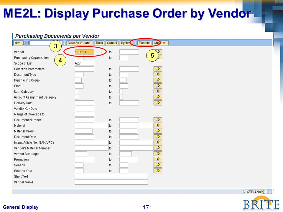 ME2L: Display Purchase Order by Vendor