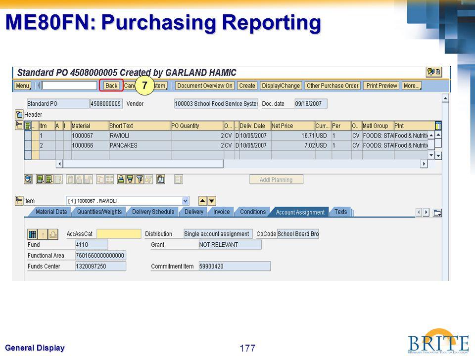 ME80FN: Purchasing Reporting