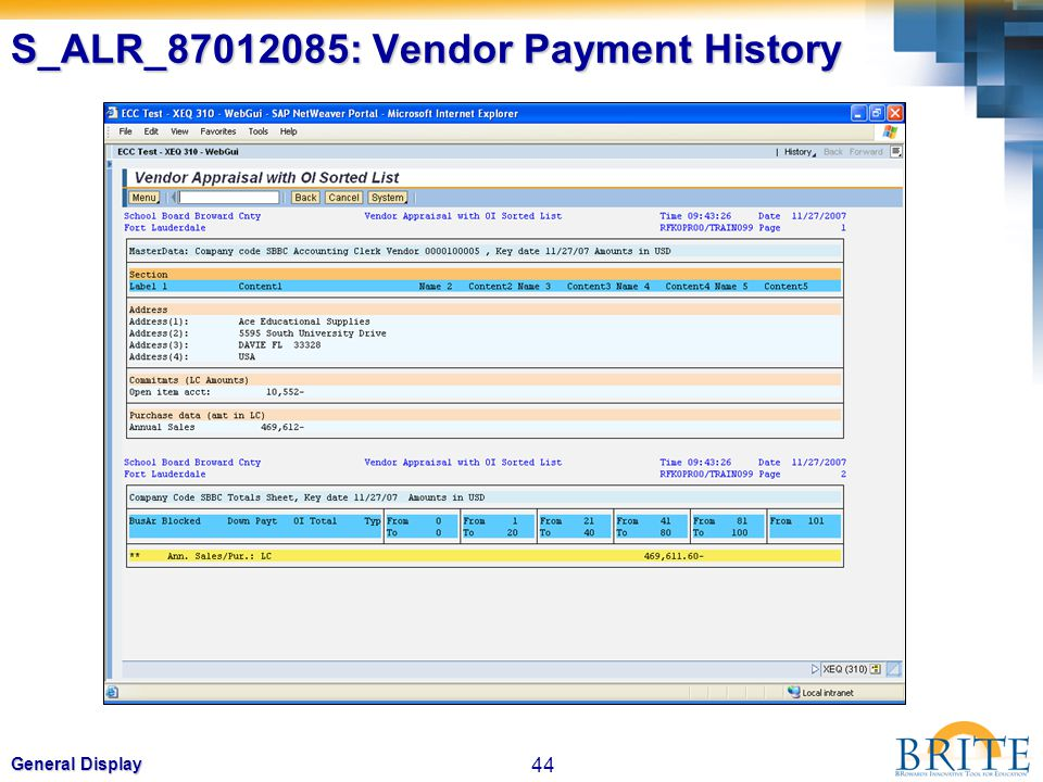 S_ALR_87012085: Vendor Payment History