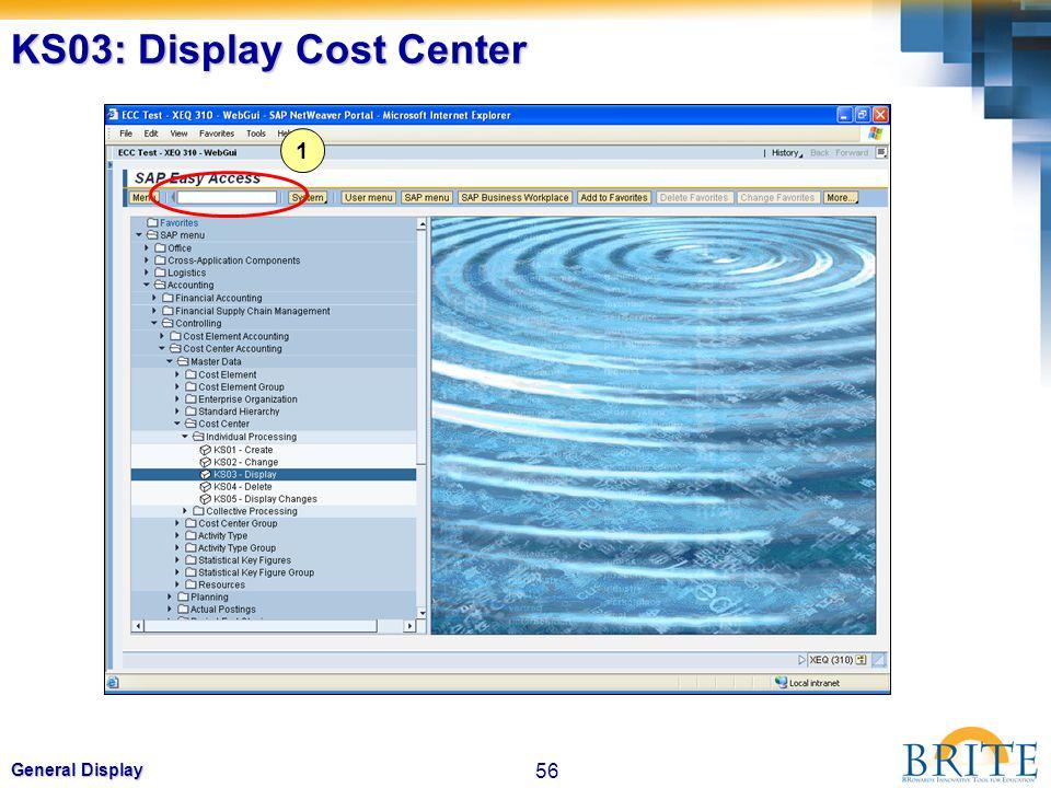 KS03: Display Cost Center
