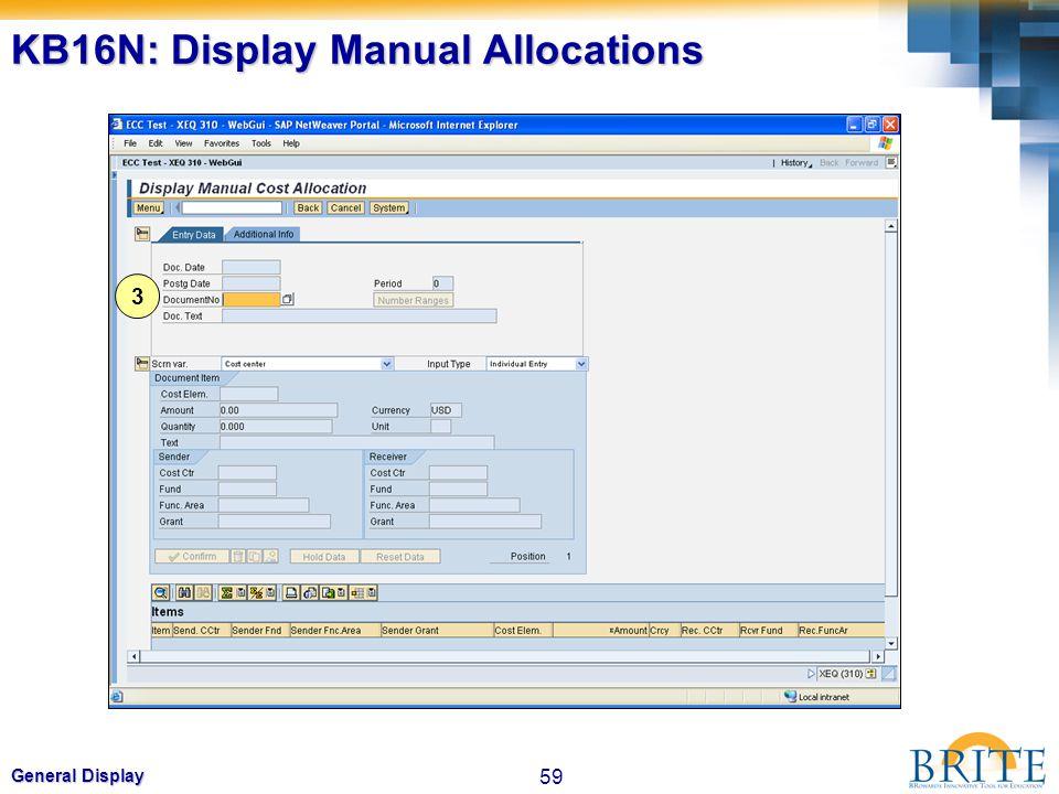 KB16N: Display Manual Allocations