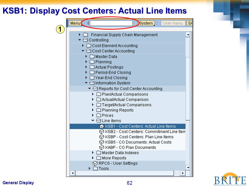KSB1: Display Cost Centers: Actual Line Items