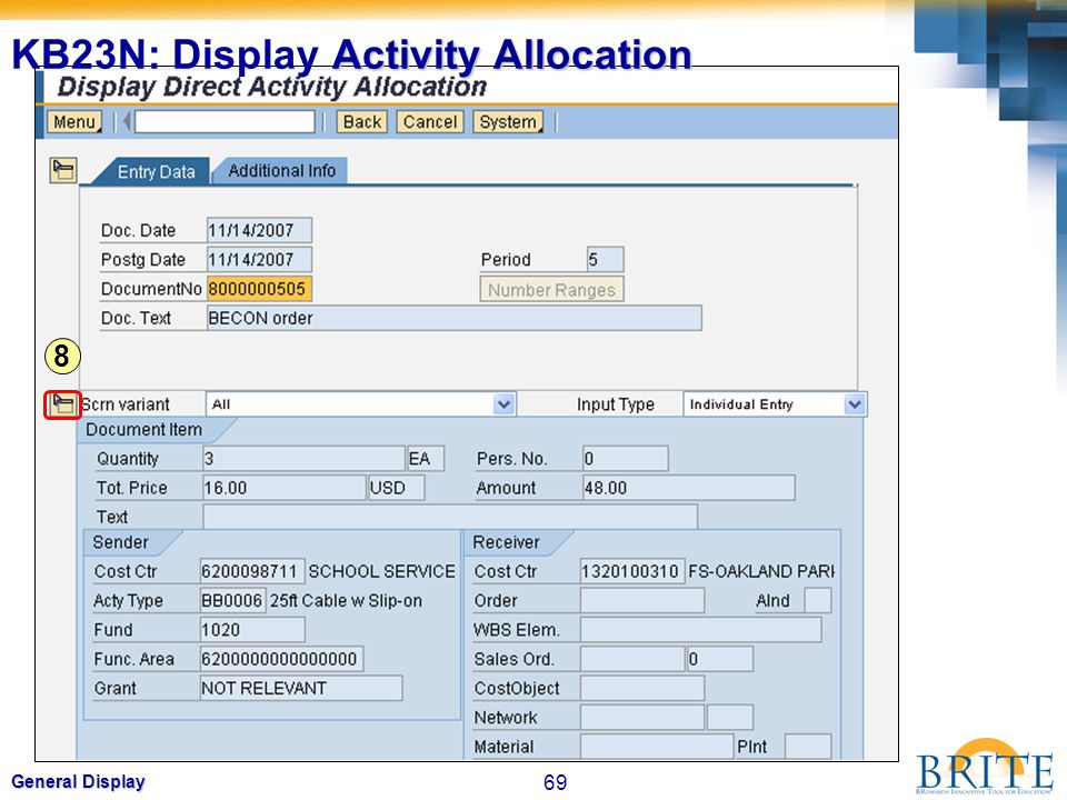 KB23N: Display Activity Allocation