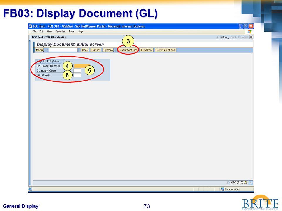FB03: Display Document (GL)