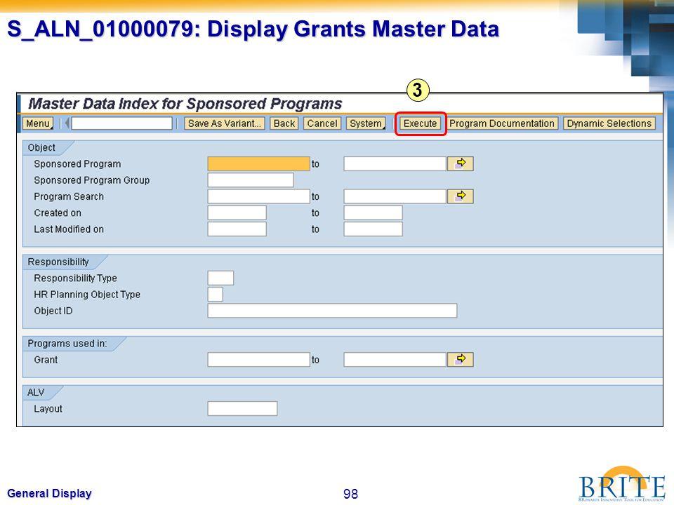 S_ALN_01000079: Display Grants Master Data