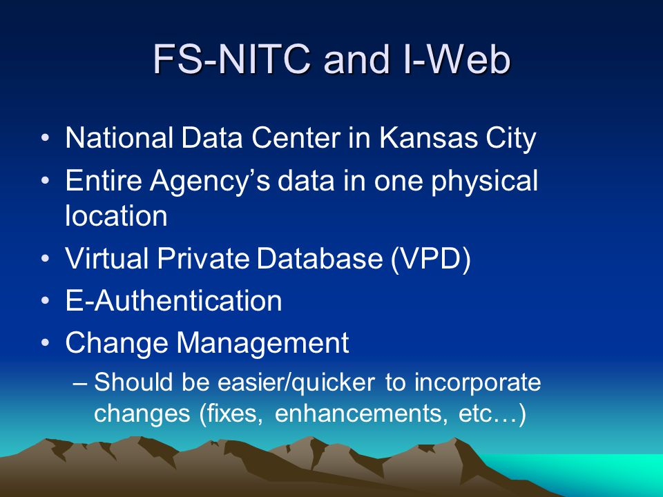 FS-NITC and I-Web National Data Center in Kansas City