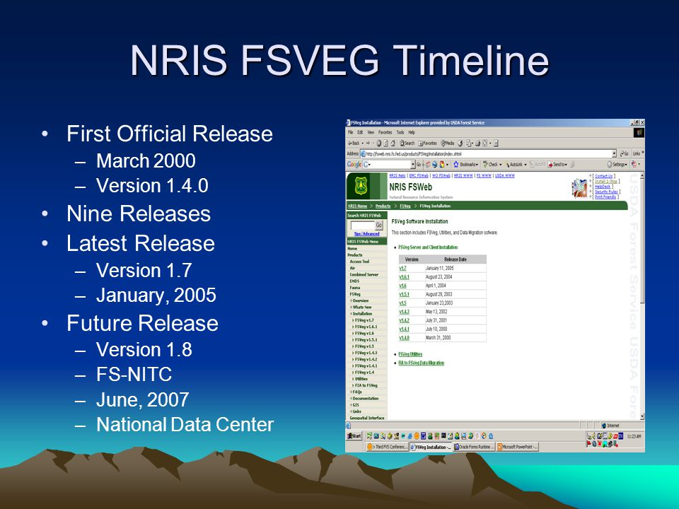 NRIS FSVEG Timeline First Official Release Nine Releases