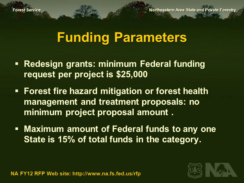 Funding Parameters Redesign grants: minimum Federal funding request per project is $25,000.