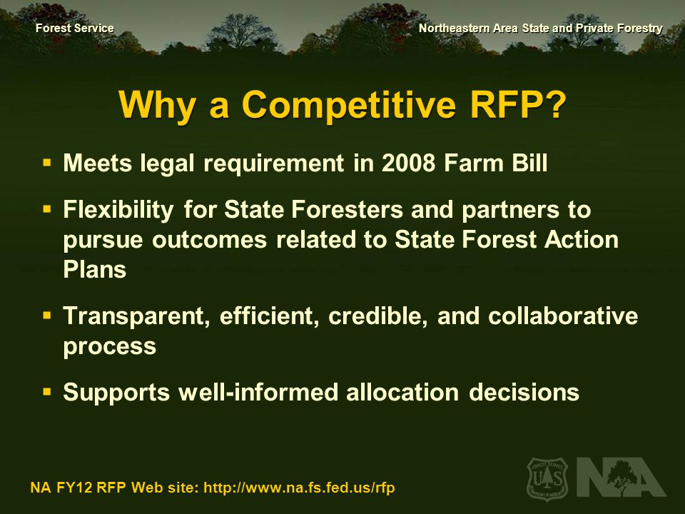 Why a Competitive RFP Meets legal requirement in 2008 Farm Bill