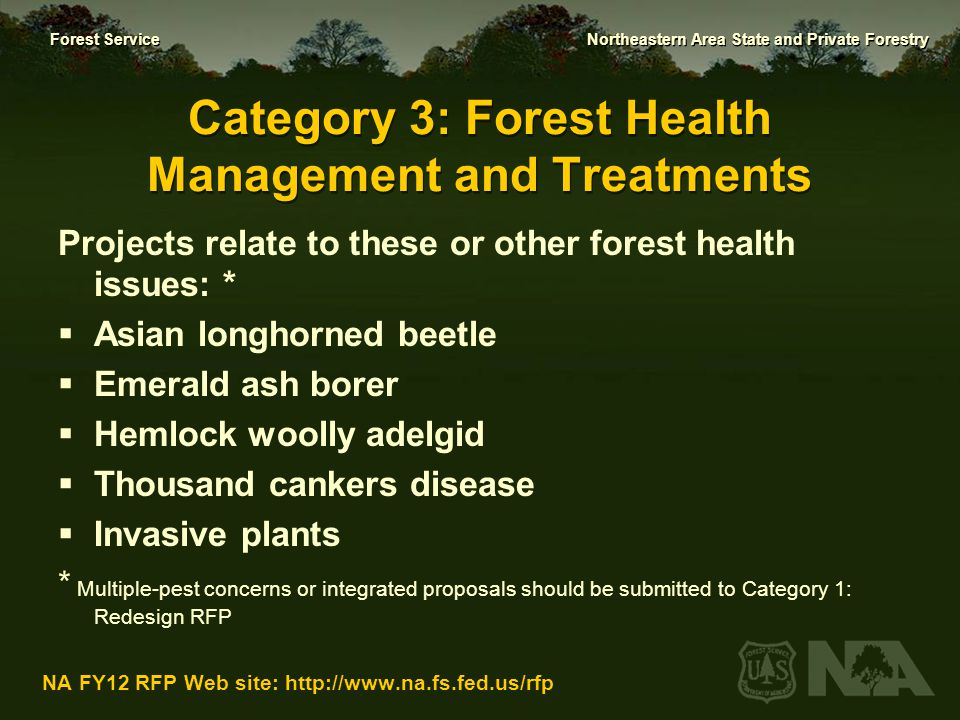 Category 3: Forest Health Management and Treatments