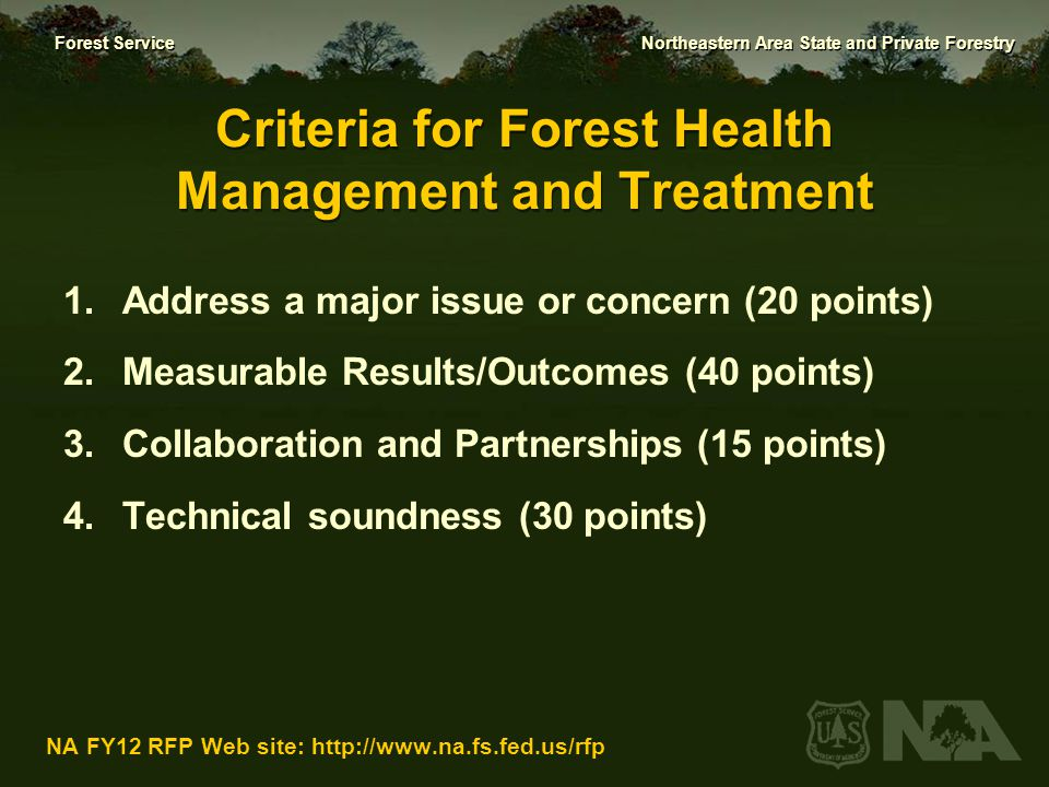 Criteria for Forest Health Management and Treatment