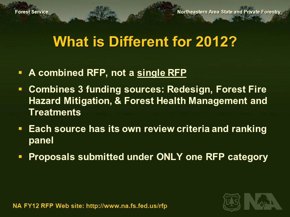 What is Different for 2012 A combined RFP, not a single RFP