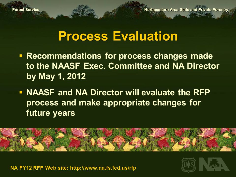Process Evaluation Recommendations for process changes made to the NAASF Exec. Committee and NA Director by May 1, 2012.