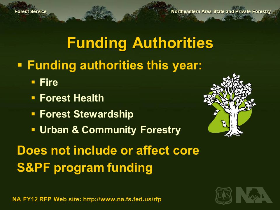 Funding Authorities Funding authorities this year: