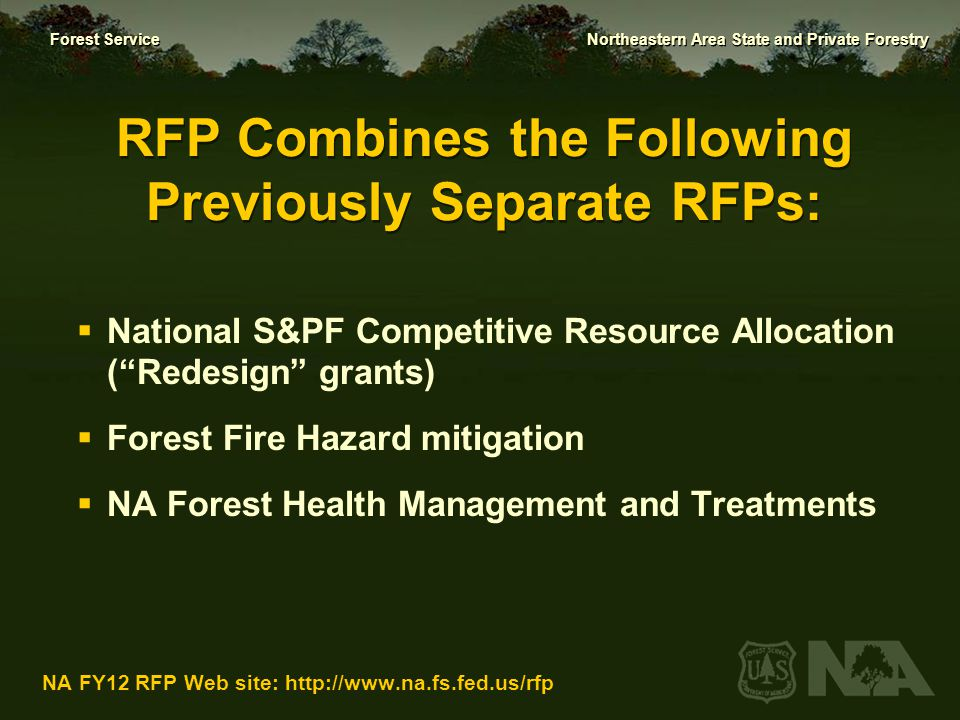 RFP Combines the Following Previously Separate RFPs: