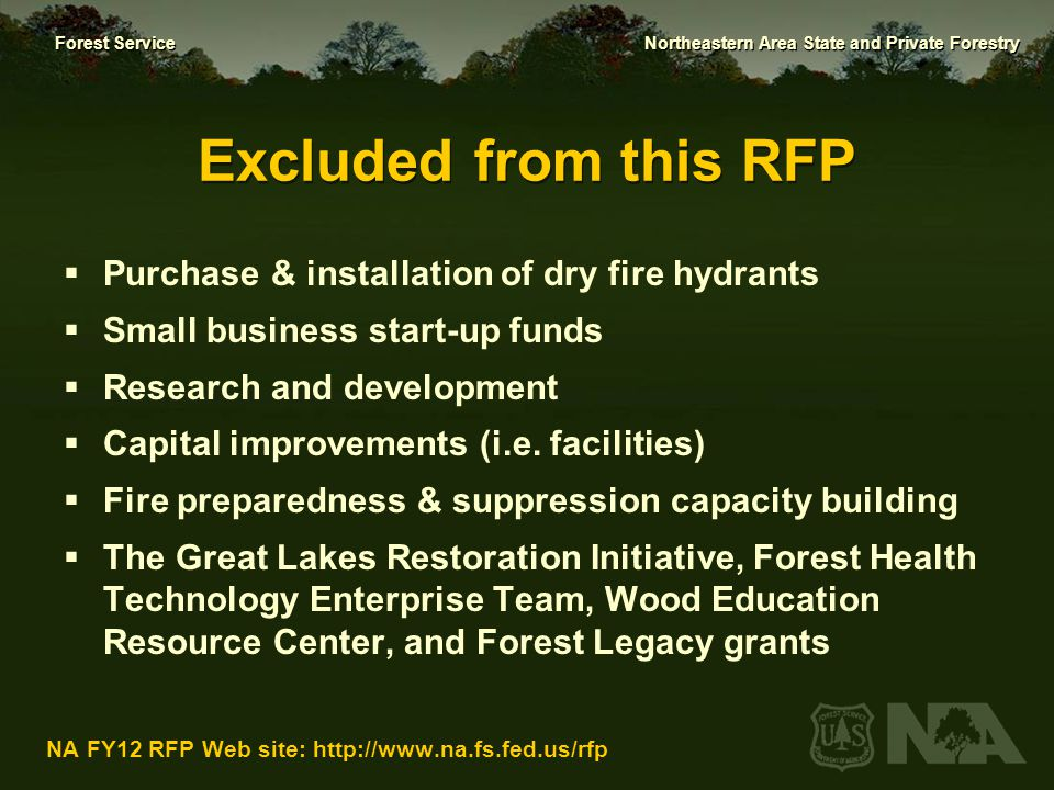 Excluded from this RFP Purchase & installation of dry fire hydrants