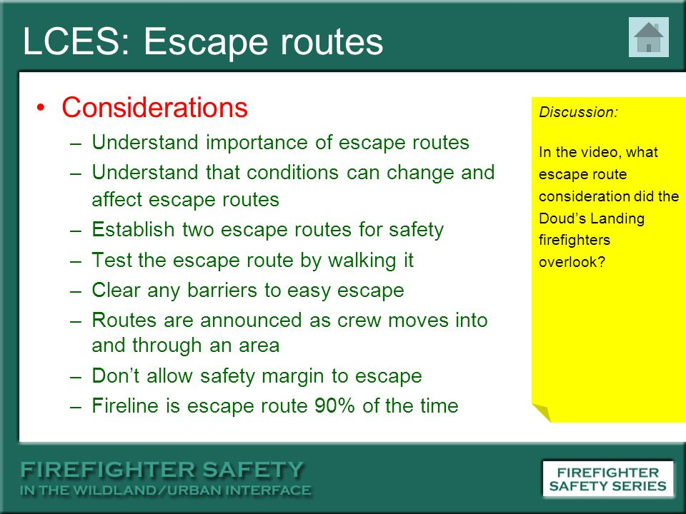 LCES: Escape routes Considerations